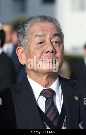 Kyoto, Japan. 1st Feb, 2015. Nobuharu Fukushima Horse Racing : Trainer Nobuharu Fukushima after Am Ball Bleiben - Stock Photo