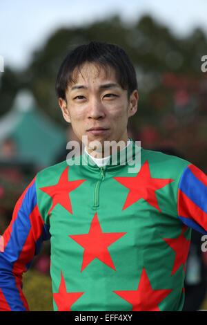 Kyoto, Japan. 1st Feb, 2015. Ken Tanaka Horse Racing : Jockey Ken Tanaka after riding Am Ball Bleiben to win the - Stock Photo