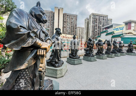 Chinese Zodiac statues at Sik Sik Yuen Wong Tai Sin Temple Kowloon in Hong Kong - Stock Photo