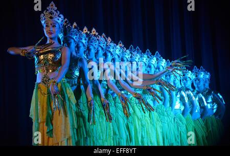 Dhaka, Bangladesh. 3rd Feb, 2015. Chinese artists dance in a performance at the National Theater in Dhaka, Bangladesh, - Stock Photo