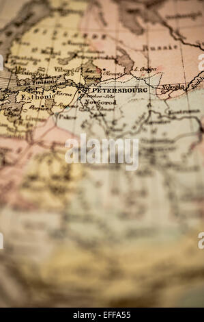 Antique French Map from Nouvel Atlas Classique C: 1869. Selective Focus on Moscow, Russia. - Stock Photo