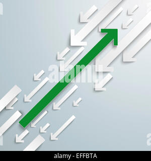 Green arrow opposite to group of white arrows, vector graphics - Stock Photo