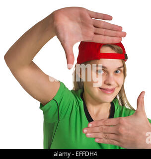 girl making grimace  on the white background - Stock Photo
