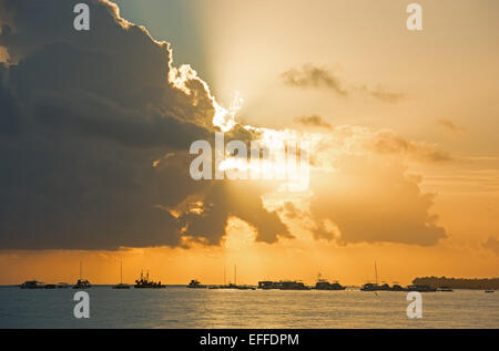 DOMINICAN REPUBLIC. A dramatic sunrise over the Atlantic, as seen from Punta Cana beach. 2015. - Stock Photo