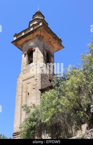 Belfry of St. Bartholomew church in Valldemossa. Majorca island, Spain - Stock Photo