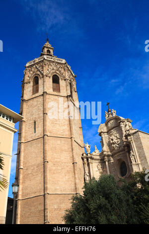 Looking up at the Miguelete Bell Tower of Valencia Cathedral Spain - Stock Photo