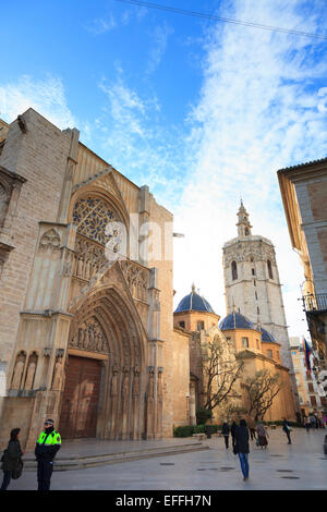 Valencia Cathedral and the Miguelete Bell Tower Spain - Stock Photo
