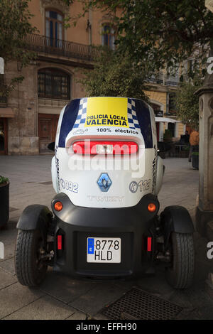 A Renault Twizy used by the local police in Valencia to patrol pedestrian areas - Stock Photo