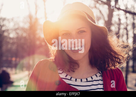 Portrait of a young woman in Paris - Stock Photo