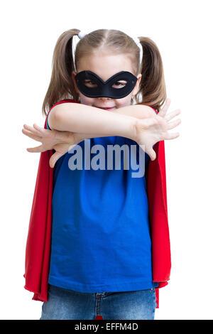 kid girl plays superhero - Stock Photo