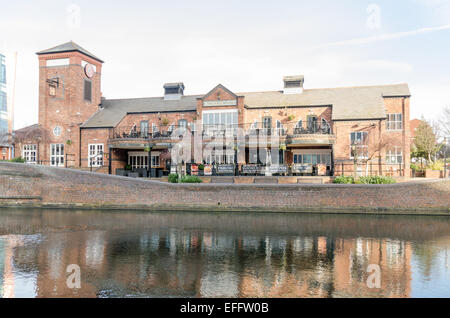 The Malt House public house overlooking the canal in Brindley Place, Birmingham - Stock Photo