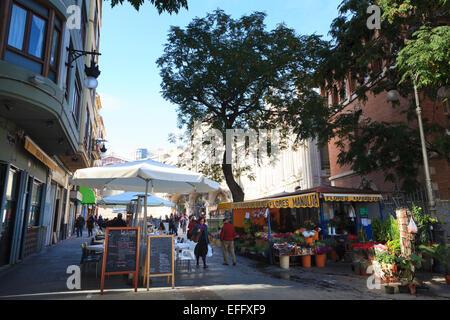 Carrer de les Carabasses Street alongside the Central Market in Valencia