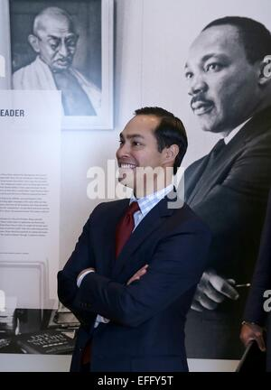 US Secretary of Housing and Urban Development Julian Castro tours the Civil Rights Museum February 2, 2015 in Atlanta, - Stock Photo