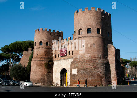 St. Paul's Gate (Porta San Paolo, in Italian) is part of the complex of the Aurelian Walls, built by order of the - Stock Photo