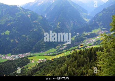 view towards Mayrhofen, Finkenberg and Ginzling, Ahorn mountains, Zillertal Tirol Austria - Stock Photo