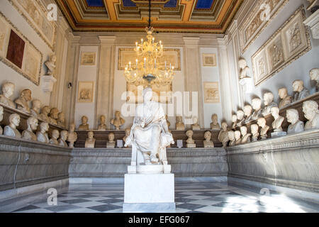 Palazzo dei Conservatori, Capitoline Museums, Rome, Italy (Hall of the Philosophers ) - Stock Photo