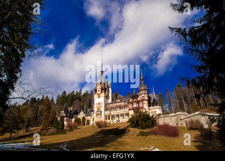Peles Castle in the Carpathians Mountains, Sinaia, Romania. - Stock Photo
