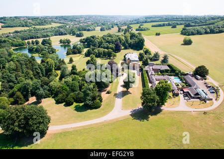 Aerial view of West Wycombe Park and stately home in rural landscape, Buckinghamshire, England - Stock Photo