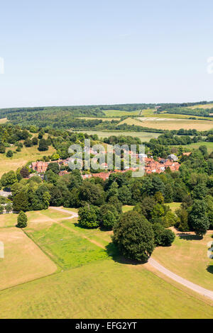 Aerial view of West Wycombe Park and rooftops in rural landscape, Buckinghamshire, England - Stock Photo