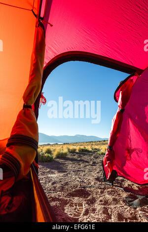 A tent view at Salar de Talar, San Pedro de Atacama, Chile, South America - Stock Photo
