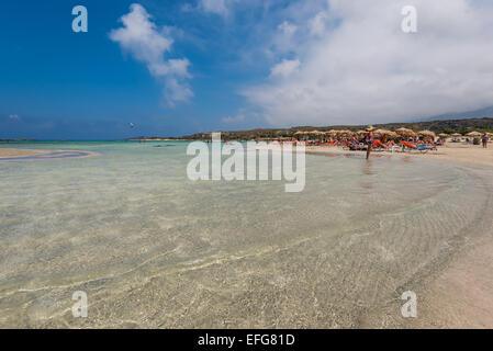 Elafonisi beach in Crete island Greece - Stock Photo