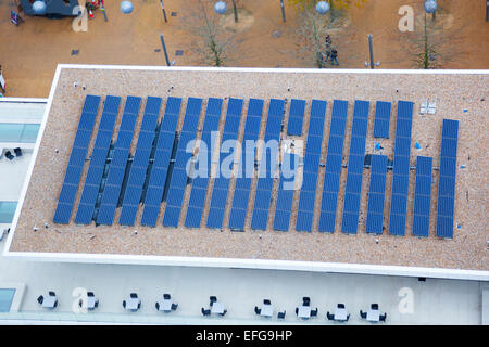 Solar panel on a rooftop at the Olympic Village in Stratford, London - Stock Photo