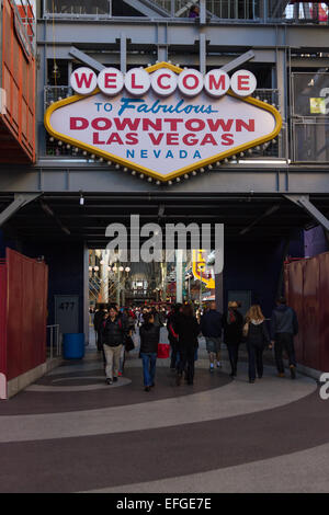 Las Vegas Nevada - December 29 : Famous welcome to fabulous downtown Las Vegas at on end of Freemont Street, December - Stock Photo