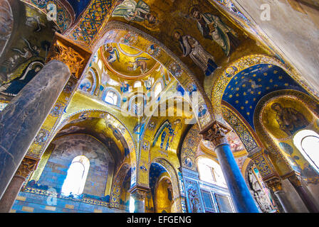 Palermo, Sicily, Italy. Palatine Chapel, Cappella Palatina the royal chapel of the Norman kings of Sicily in Palazzo - Stock Photo