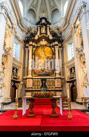 Bruges, Belgium. Interior of Sint-Walburgakerk (St. Walburga Church)dating from 1619 baroque monument in Brugge - Stock Photo