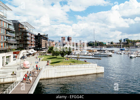 Aker Brygge and Oslo city skyline, view from Tjuvholmen, Oslo, Norway. - Stock Photo
