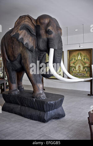 Large wooden carved elephant statue at the Thai Arts and Cultural centre Pattaya Thailand S. E. Asia - Stock Photo