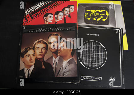 front covers of the kraftwerk albums, radio-activity, trans-europe express, the man machine and computer world - Stock Photo