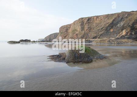 The beach below the Druidstone Hotel, West Wales - Stock Photo