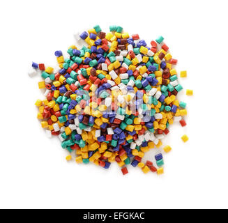 Top view of plastic pellets stack isolated on white - Stock Photo