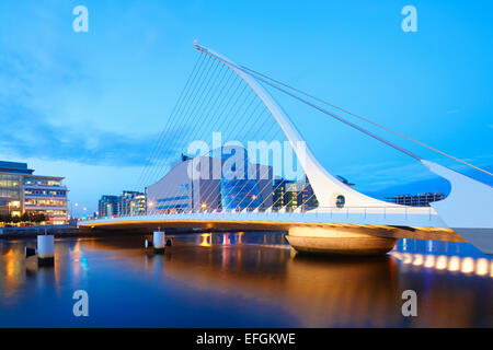 Samuel Beckett Bridge at dusk, Dublin, Ireland - Stock Photo