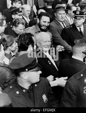 Soviet leader Nikita Khrushchev and Cuban leader Fidel Castro make their way through a crowd as they arrive at the - Stock Photo