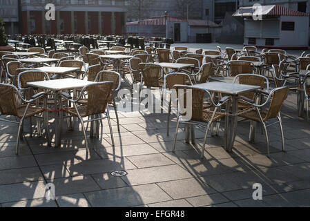 Empty restaurant in an early morning in Germany - Stock Photo