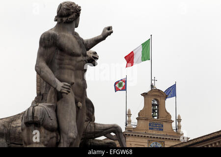 Rome, Italy. 3rd February, 2015. Sergio Mattarella is the new president of the Italian Republic. The oath of February - Stock Photo