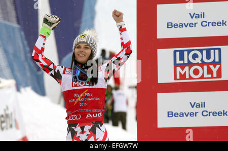 Beaver Creek, Colorado, USA. 03rd Feb, 2015. Anna Fenninger of Austria, first place, celebrates on the podium after - Stock Photo