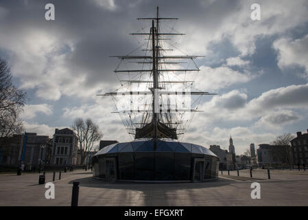 Front view of the famous tea clipper the Cutty Sark at Greenwich, London, UK. February 2015 - Stock Photo