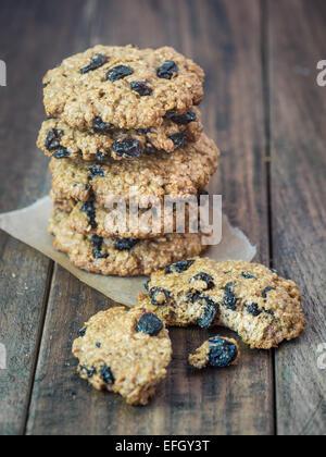 Homemade wholemeal spelt oatmeal cookies. - Stock Photo