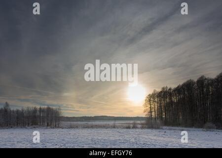Wintertime sunset over meadows and forest with sun behind cloud - Stock Photo