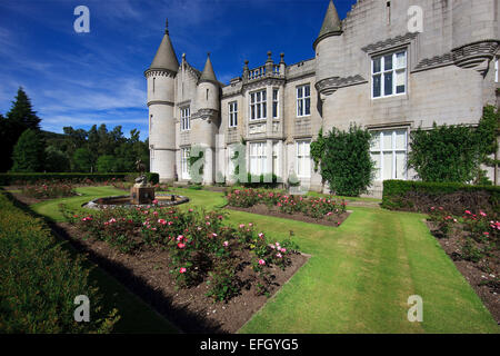 The frontage of Balmoral castle as seen from the garden,Balmoral,royal-deeside,Aberdeenshire - Stock Photo