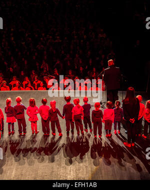 Children performing on stage at Harpa during the Annual Children's Festival, Reykjavik, Iceland - Stock Photo