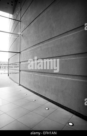 Glass wall entrance of car showroom interior,  black and white - Stock Photo