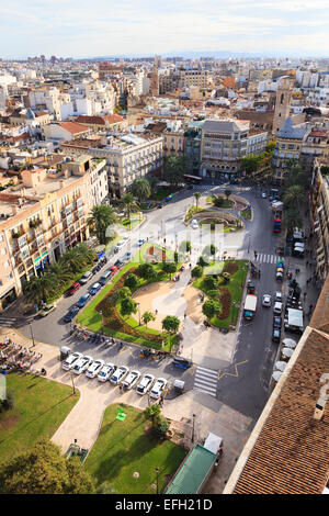 Looking down on the Plaza de la Reina in Valencia Spain - Stock Photo