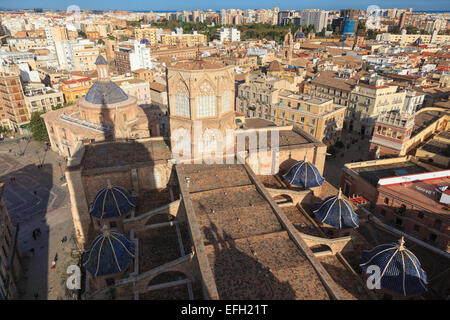 Looking down on the roof of Valencia Cathedral Spain - Stock Photo