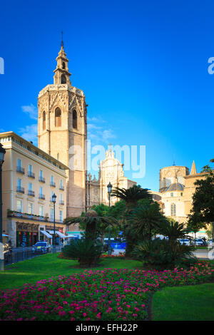 The Plaza de la reina and Valencia Cathedral in Spain - Stock Photo