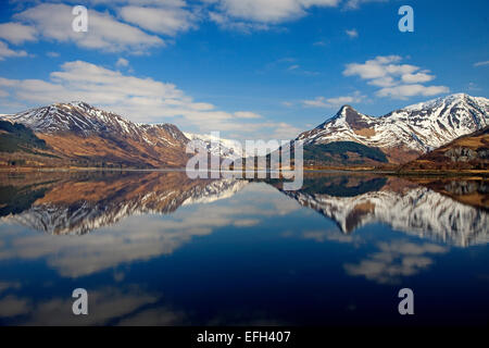 Peaceful reflections of the Glencoe hills, Loch leven - Stock Photo