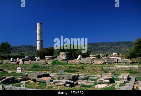 greece, northeastern aegean islands, samos, heraion, temple of hera - Stock Photo